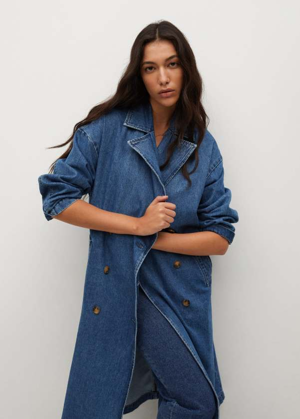 Double breasted denim trench - Mango