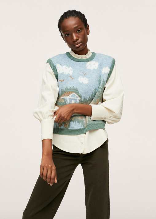 Knitted gilet with print - Mango