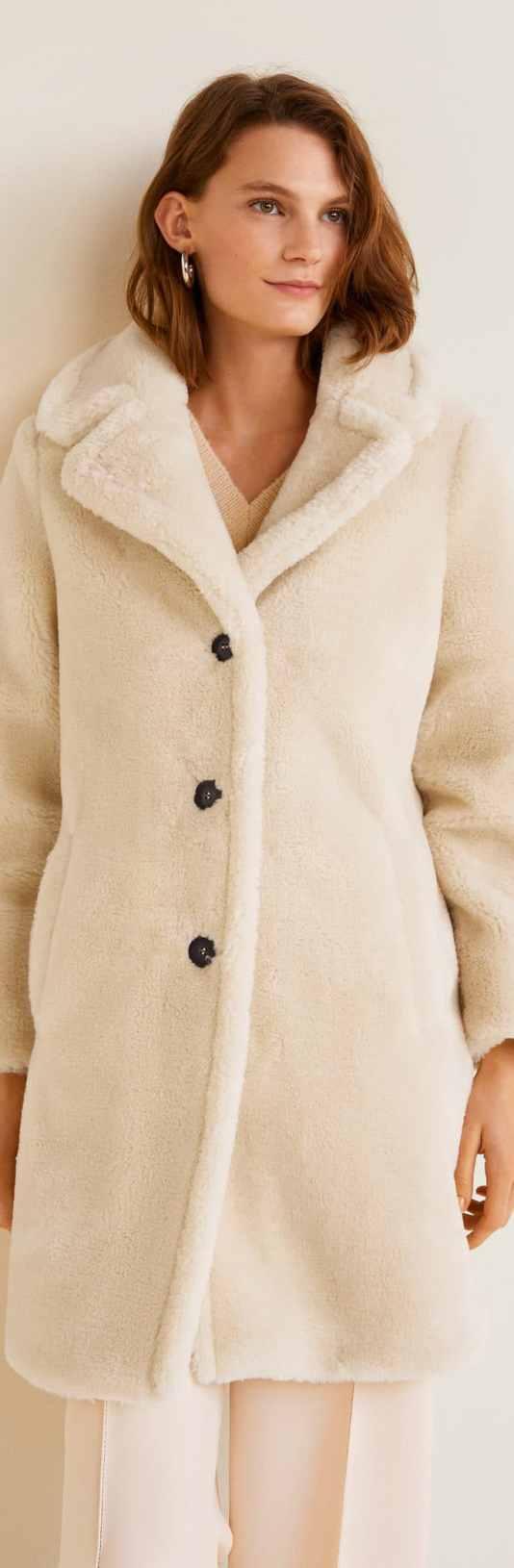 Manteau en fausse fourrure à revers