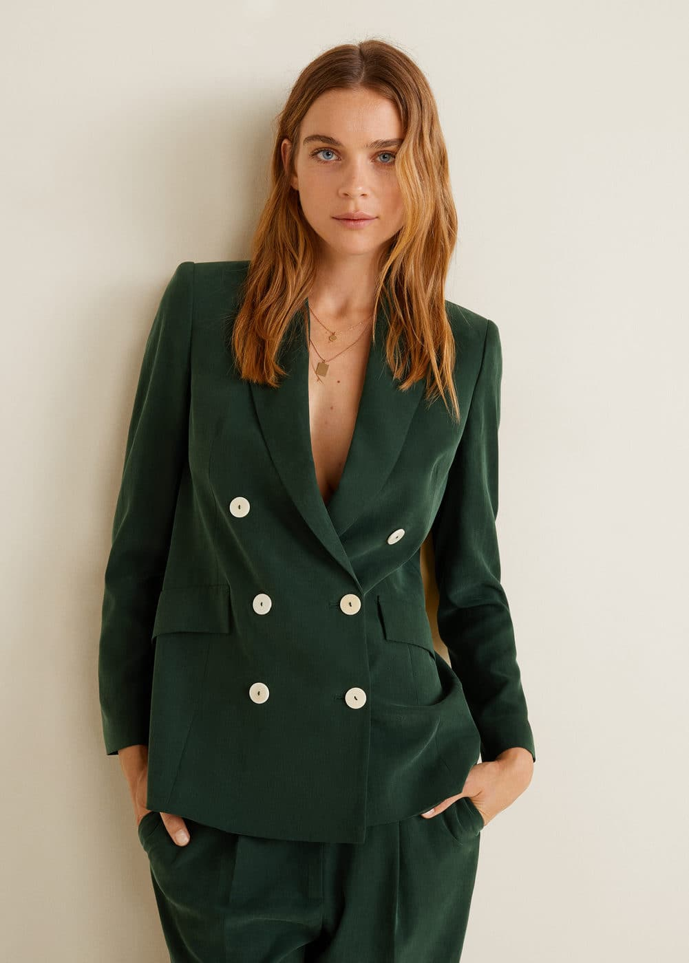 Mango Double Breasted Blazer – Emerald