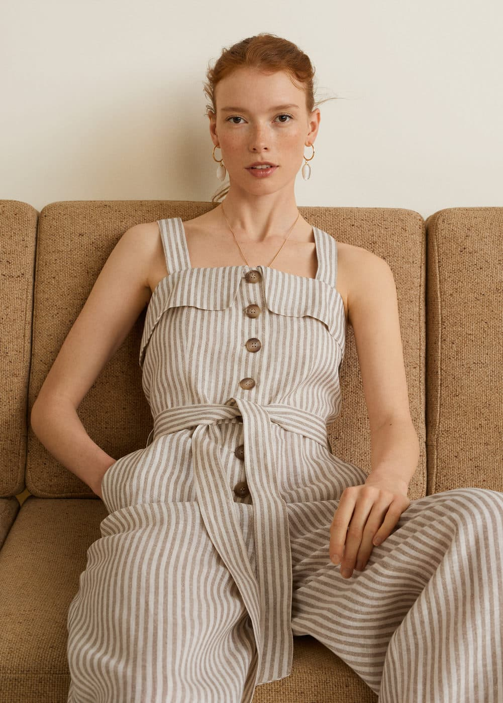Mango Linen Striped Jumpsuit