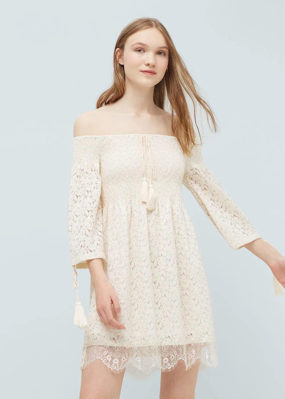 Vestido guipur algodón | MANGO