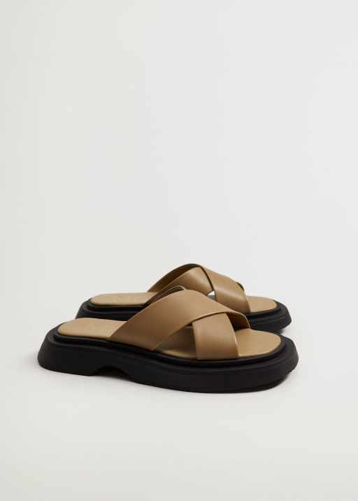 Leather sandals with straps - mango