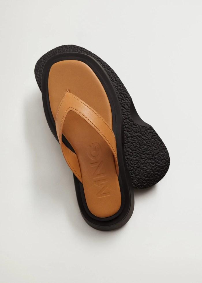 Platform tan leather sandals - Mango