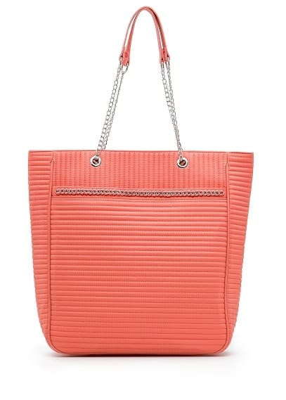 bolso shopper en color coral de Mango