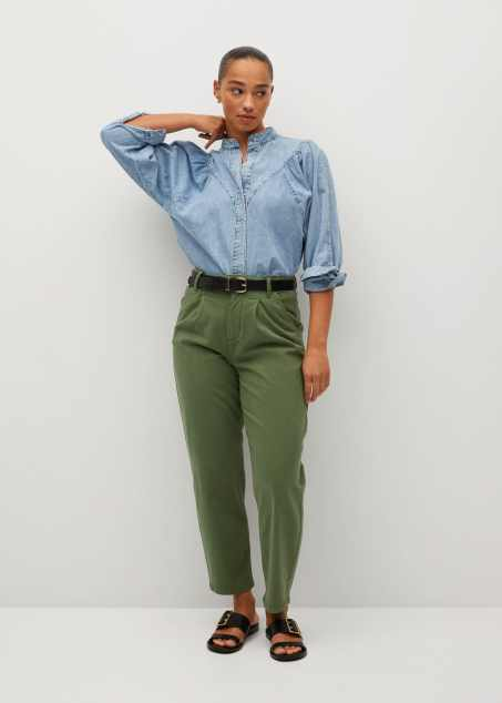 Cotton pleated trousers - General plane