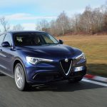 2018 Alfa Romeo Stelvio Q4 front three quarter in motion 05