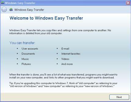 Dùng Windows Easy Transfer để chuyển dữ liệu