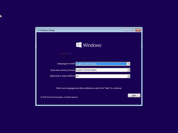 màn hình Windows Setup xuất hiện
