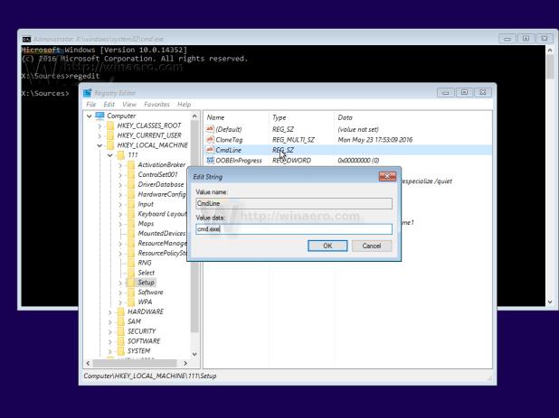 Chỉnh sửa thông số cmdline và thiết lập là cmd.exe