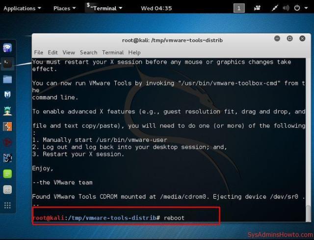 Cài đặt VMware Tools trên Kali Linux bước 11