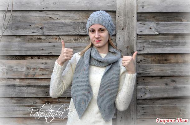 . Шапка и шарф спицами