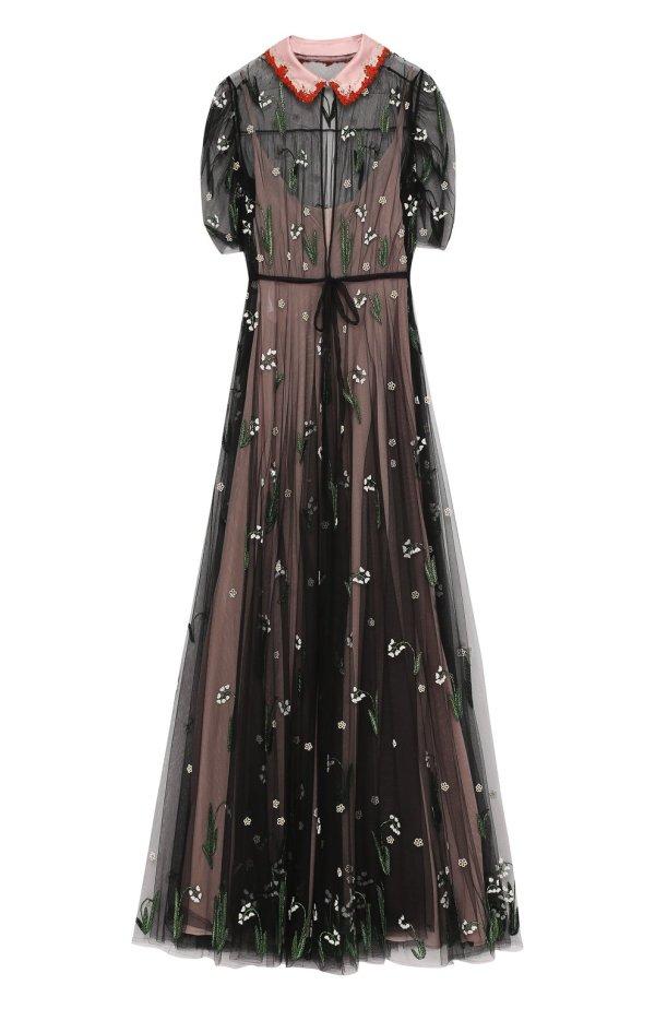 Женское черное приталенное прозрачное платье-макси с ...