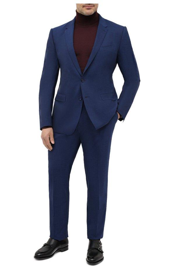 Мужской синий шерстяной костюм с пиджаком на двух ...