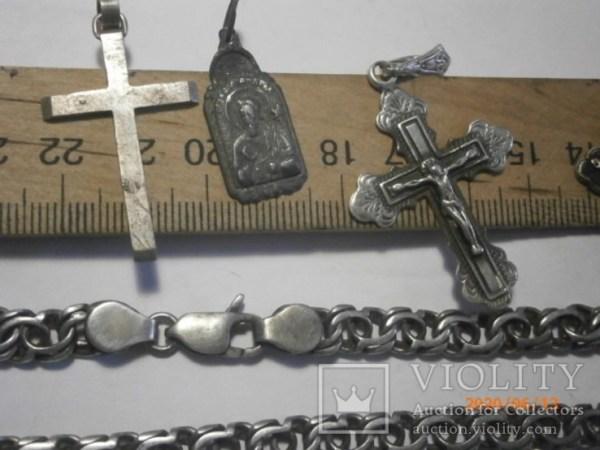 Серебряные крестики и цепочки, вес 123,5г. - «VIOLITY ...