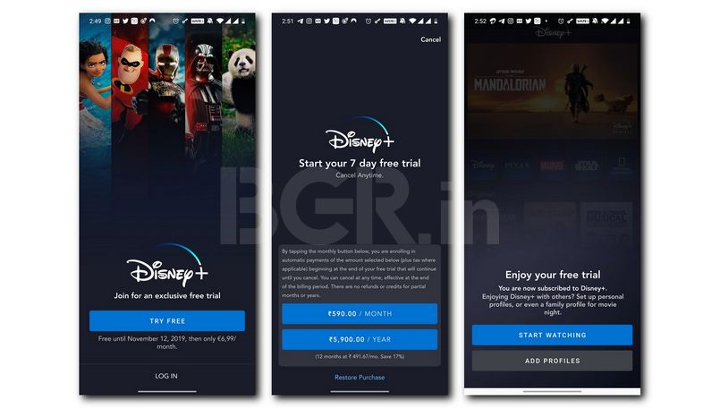 Disney+ video streaming service Price in India