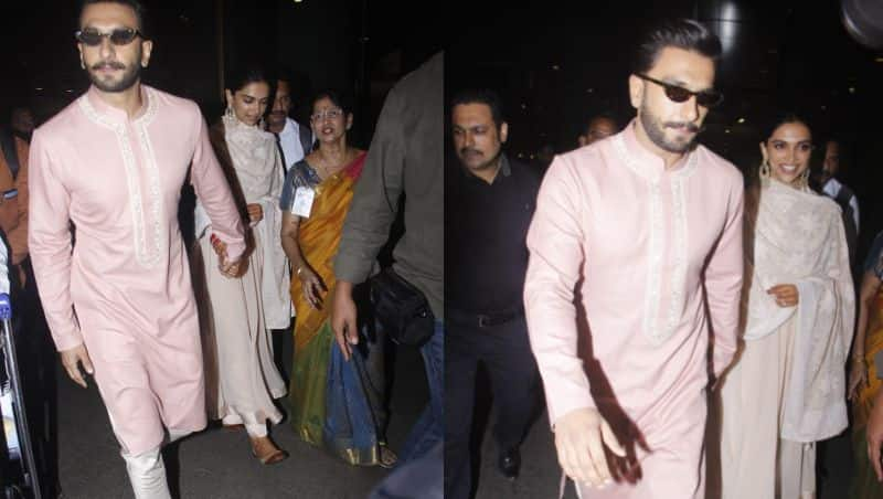 [HQ Pics] Ranveer Singh and Deepika Padukone return to Mumbai; the next wedding reception is on November 28