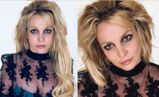 Britney Spears looks edgy in a sheer top and smokey eyes — view pics