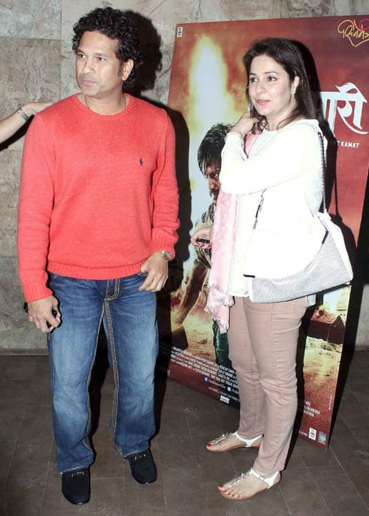 Sachin Tendulkar attends a special screening of Riteish Deshmukh's Marathi debut film Lai Bhaari!