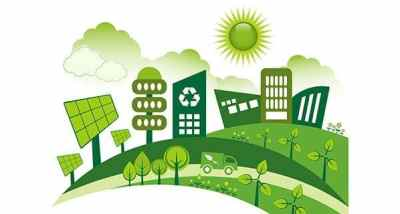 This clipart picture showcases a green society which is the best for the environment.