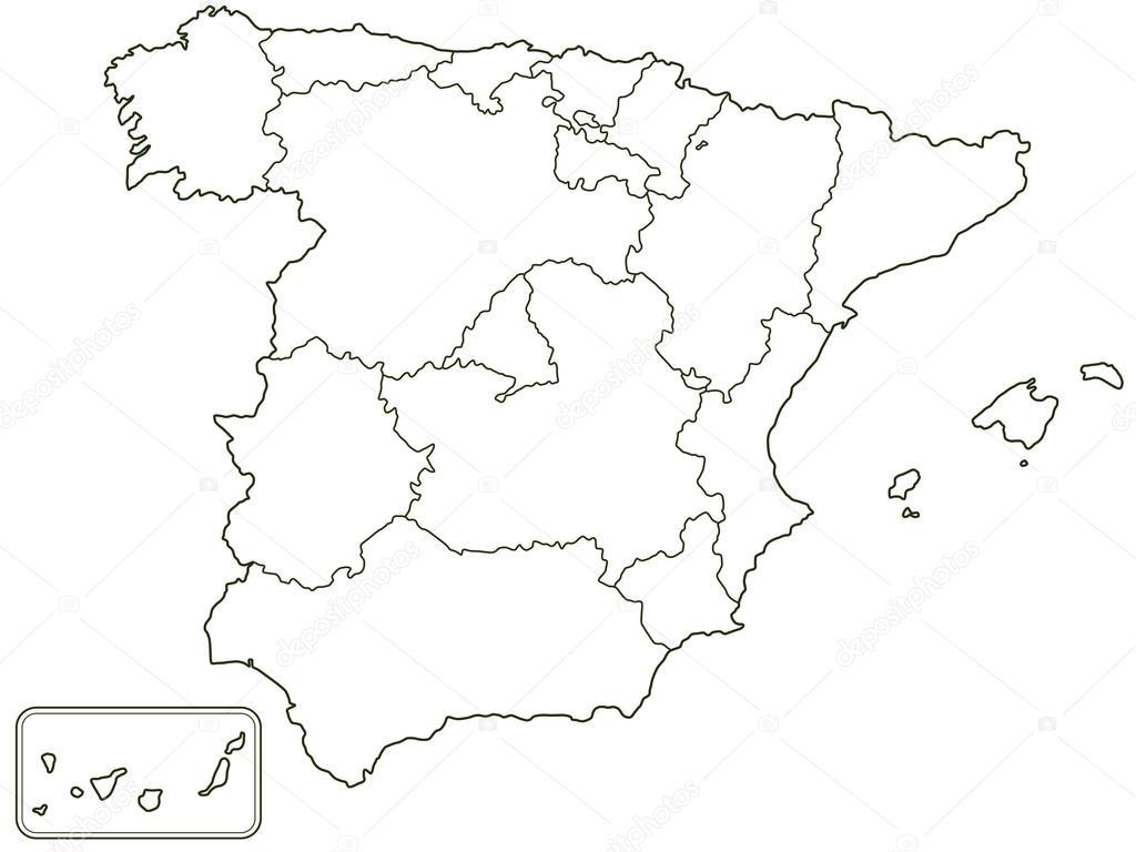 Sylwetka Granicy Kontur Mapa Hiszpanii