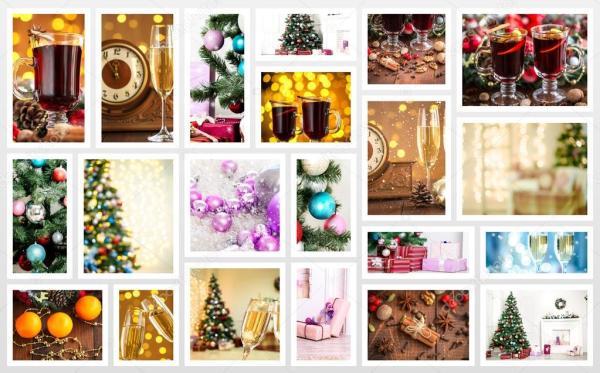 Рождественский праздничный коллаж — Стоковое фото ...