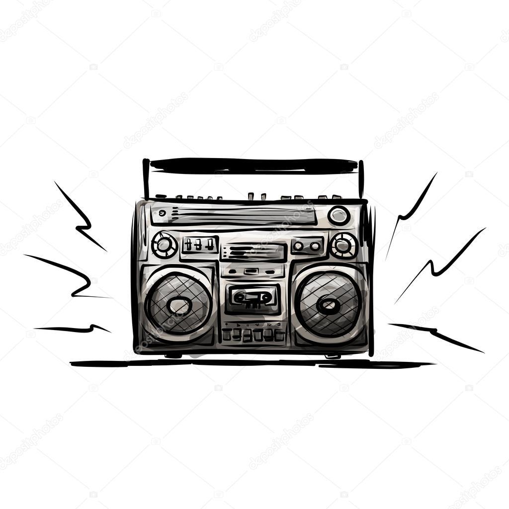 Grabadora De Cassette Retro Bosquejo De Su Diseno