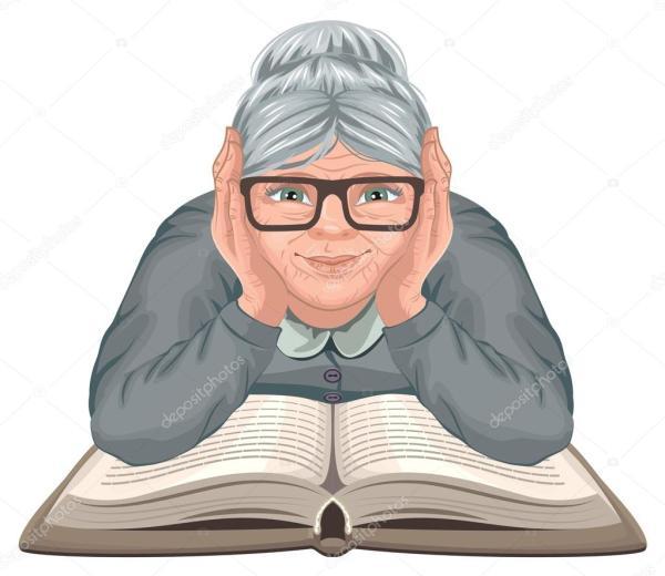 Бабушка чтения книги. Старая женщина в очках размещены его ...