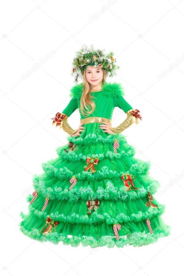 Маленькая девочка в костюм елки — Стоковое фото © acidgrey ...