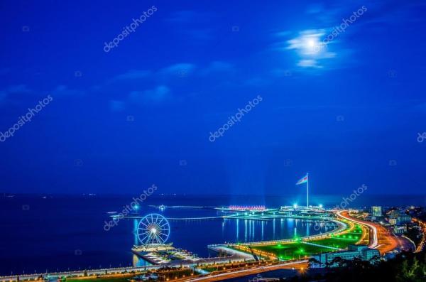 Красивые фото ночного баку. Вид на Баку ночью — Стоковое ...
