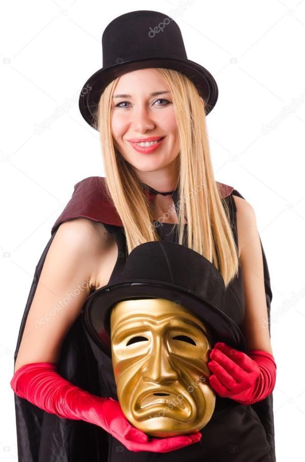 Женщина с театр масок — Стоковое фото © Elnur_ #83040608
