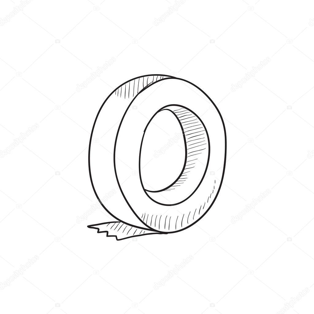 Rolle Mit Klebeband Skizze Symbol