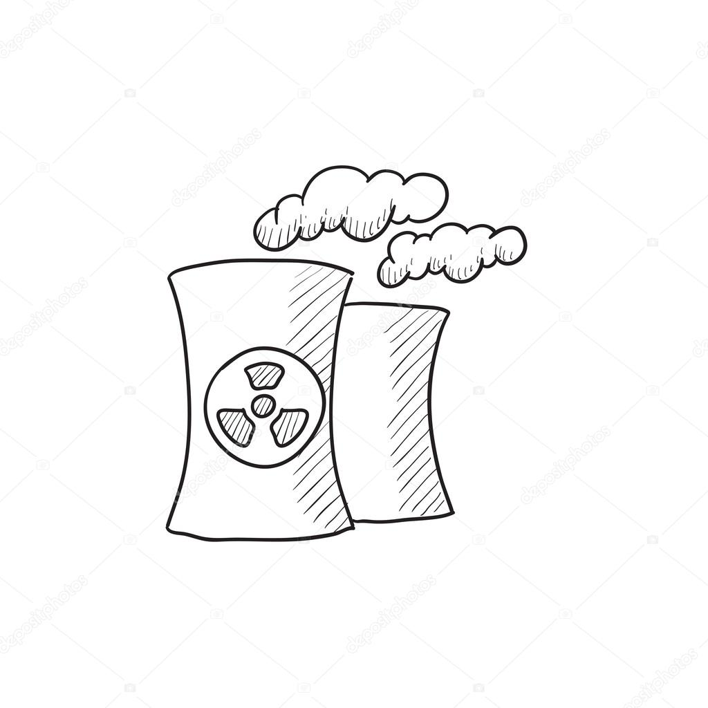 Kernkraft Pflanze Skizze Symbol
