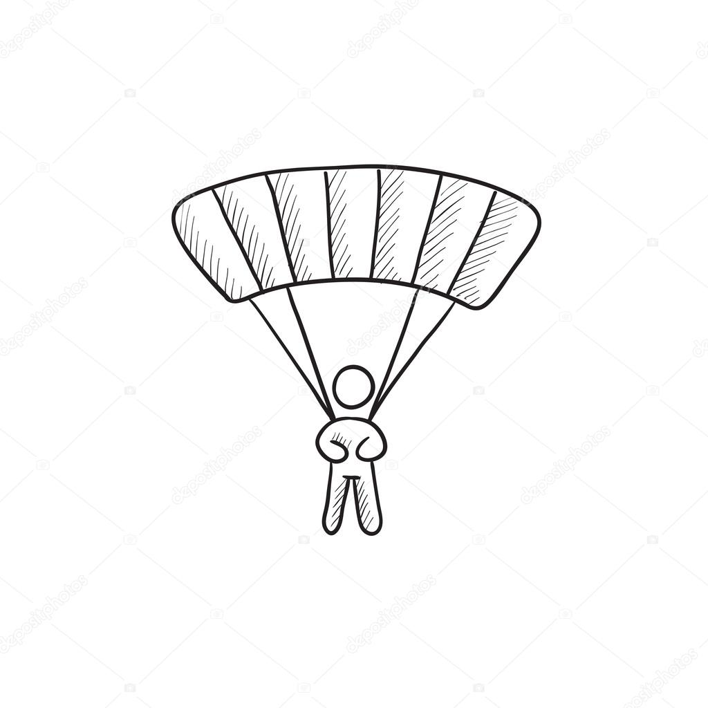 Skydiving Sketch Icon