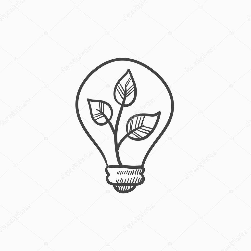 Lightbulb And Plant Inside Sketch Icon