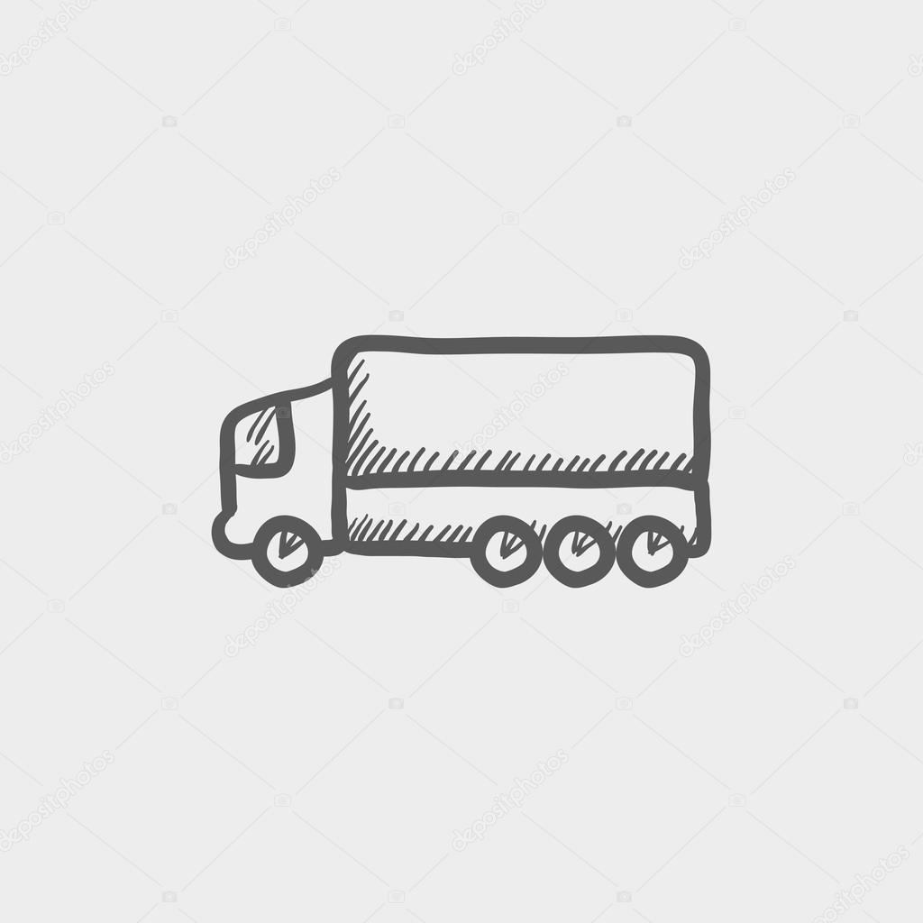 Trailer Truck Sketch Icon