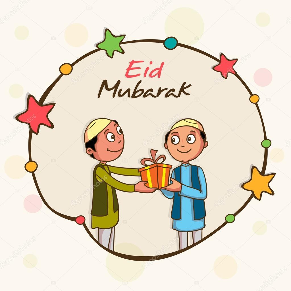 Eid Mubarak Viering Met Schattige Kinderen