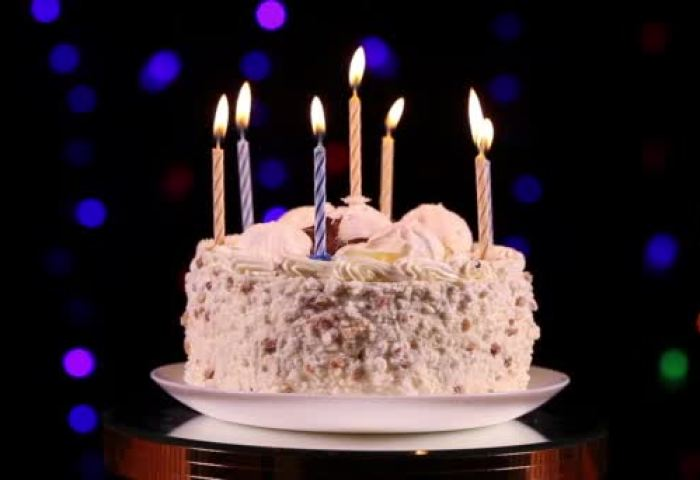 Happy Birthday Cake With Burning Candles Stock Video Alkirdep