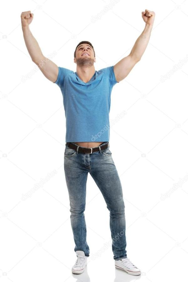 Man with his arms up in victory gesture. — Stock Photo ...