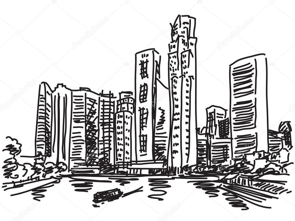 Singapore Skyline Sketch
