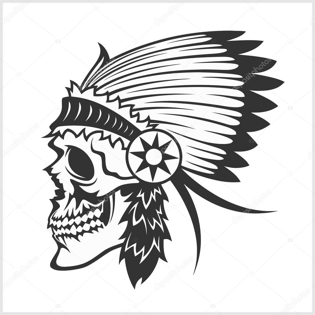 Native American Indian Chief Headdress Mascot In Tribal