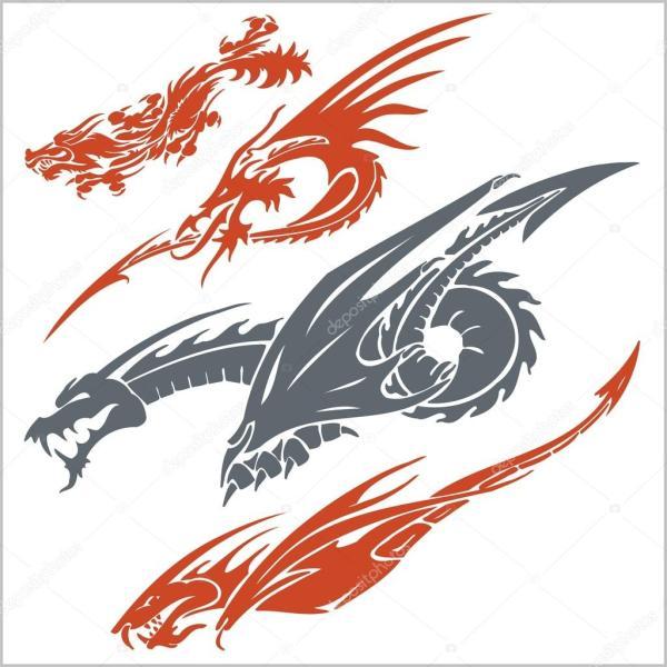 драконы для татуировки вектор установлен Векторное