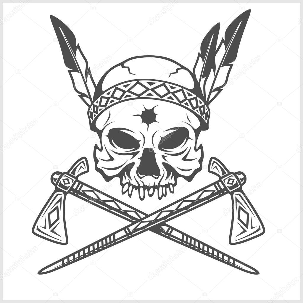 Cranio Chefe Indio Americano Com Tomahawk