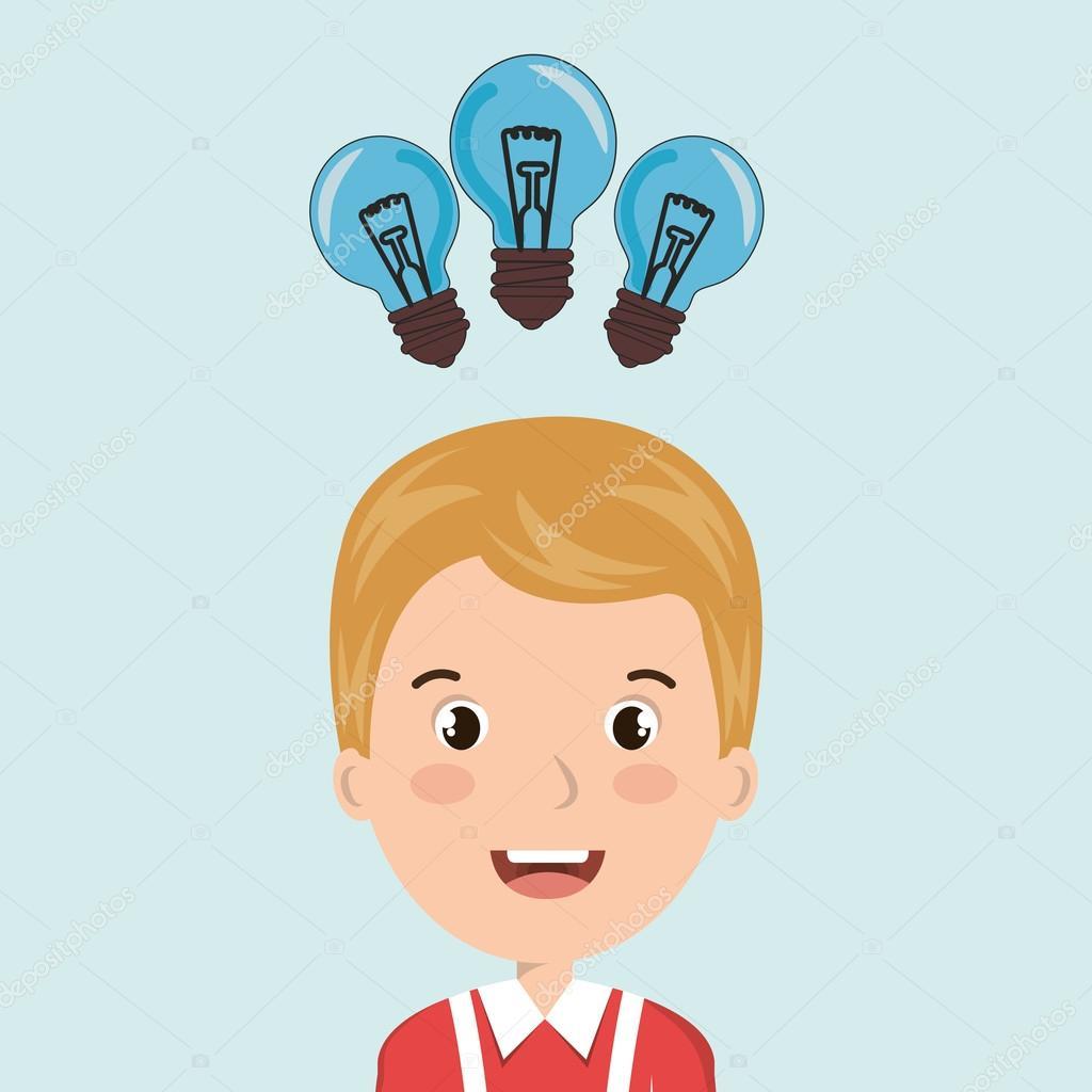 enfant eleve idee ampoule image vectorielle par yupiramos c illustration 119793444