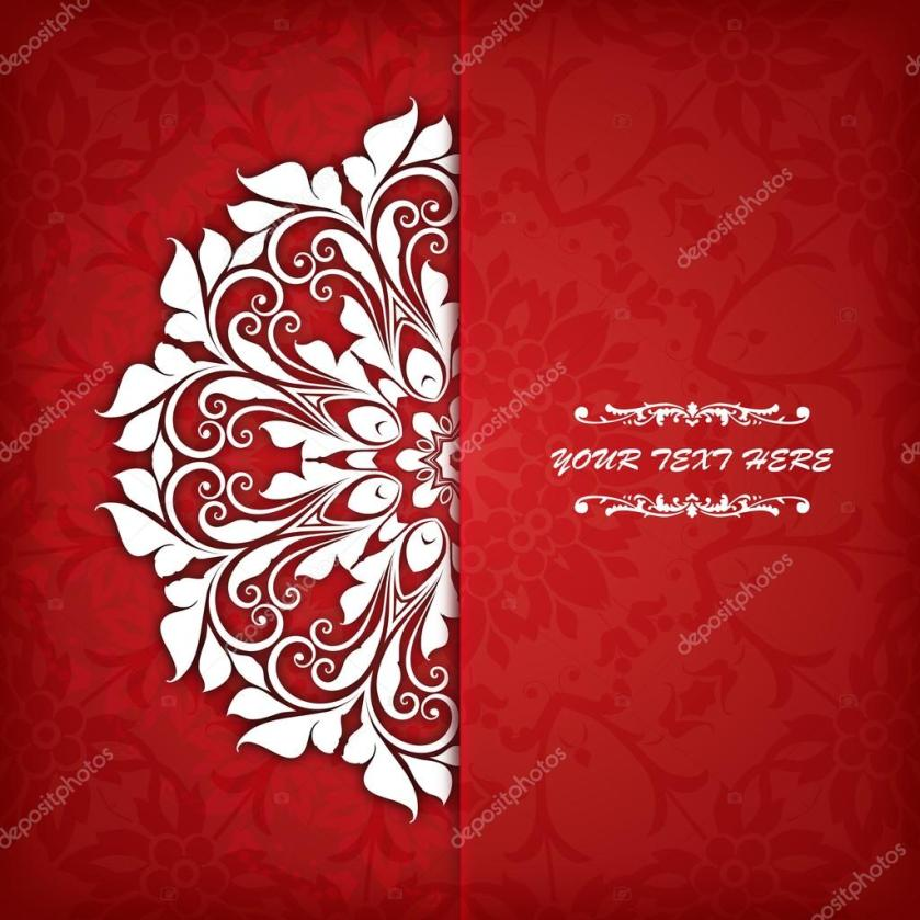 Indian Wedding Card On A Red Background Vector Free