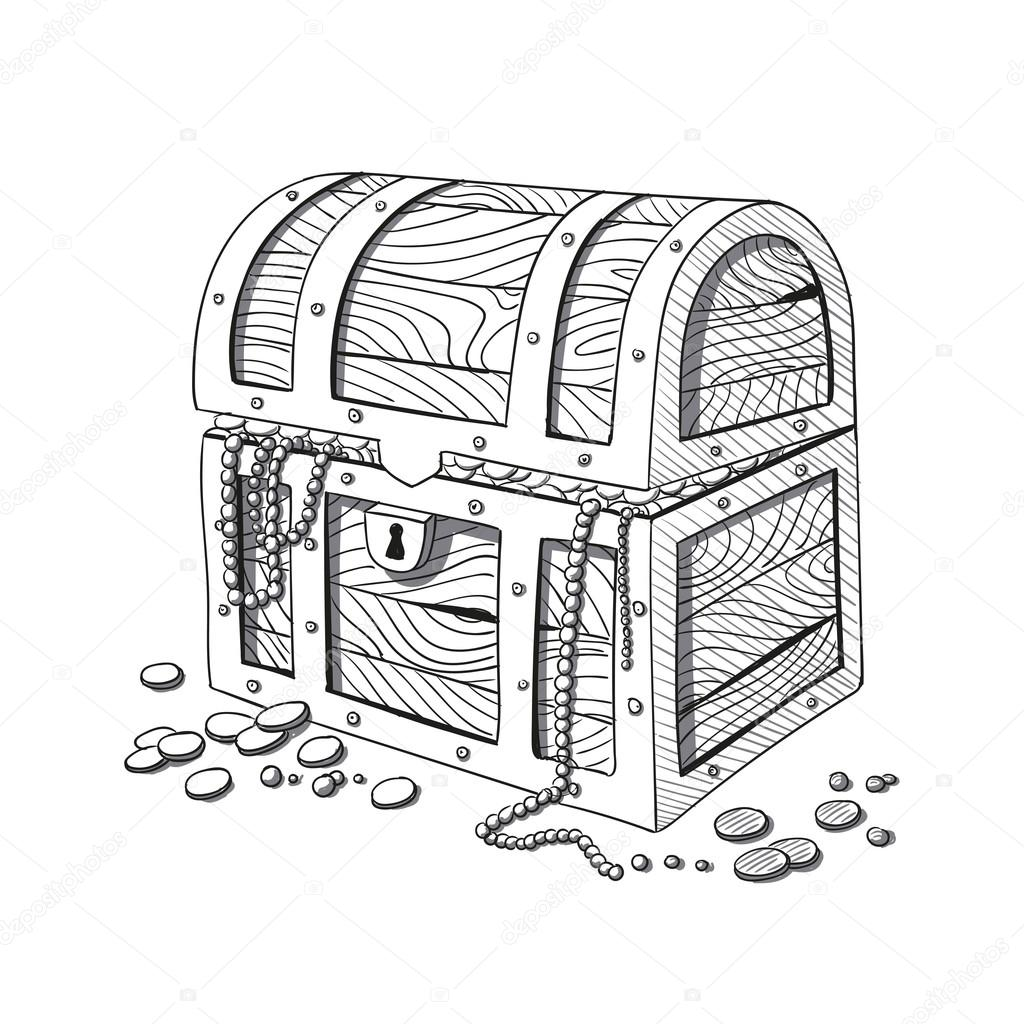 Vector Hand Drawn Treasure Chest