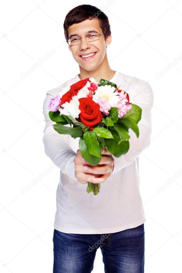 Мужчина с цветами. Парень с цветами — Стоковое фото ...
