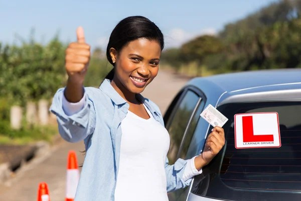 Learner driver holding driver's license
