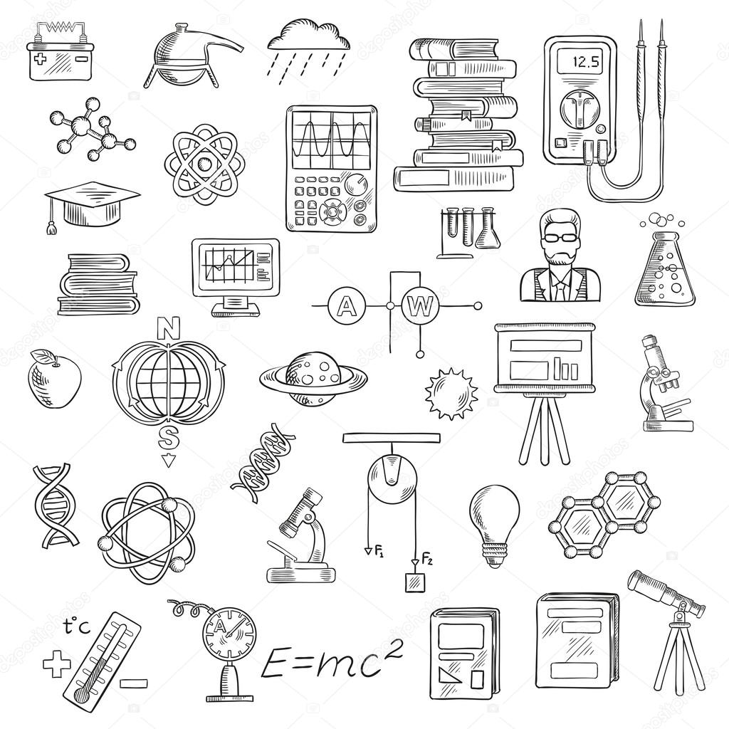 Physics Chemistry And Astronomy Science Sketches