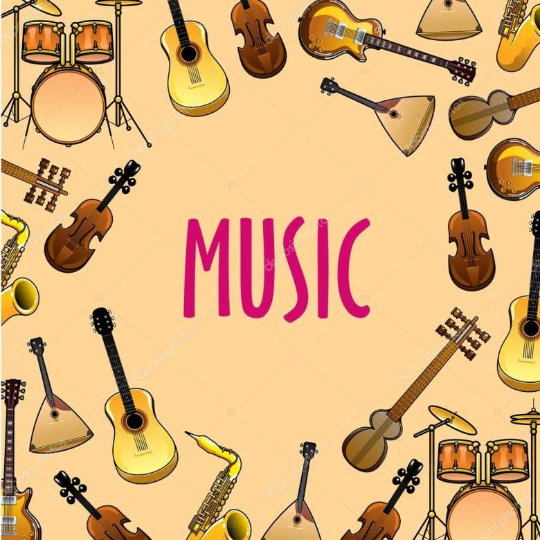 music background with classic, ethnic instruments — stock vector